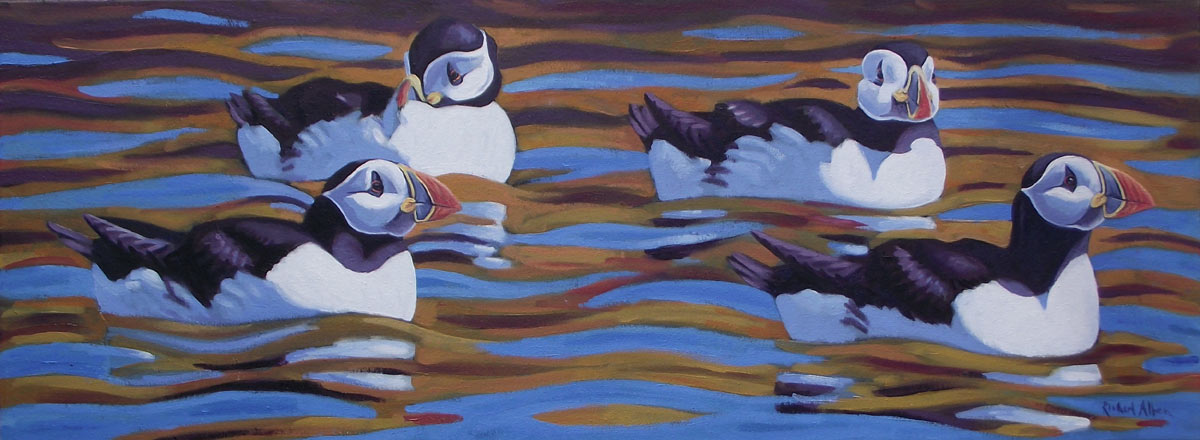 Puffins Painting Bird Art by bird artist Richard Allen