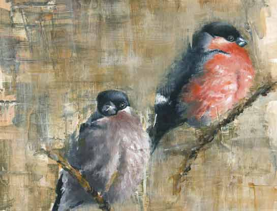 bullfinches Bird painting by Janie Penny