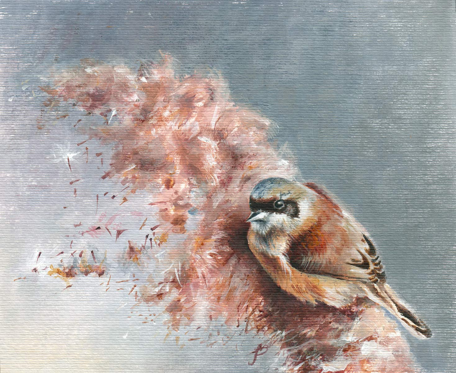Penduline Tit on Bullrush bird art by bird artist Janie Penny